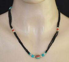 ETHNIC Sterling SILVER NECKLACE TIBETAN Tribal Asian Black star JEWELRY SX57