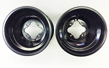 "DWT Black A5 Rolled Lip ATV Rear Wheels Rims 10"" 10x8 4/115 Yamaha Raptor YFZ450"