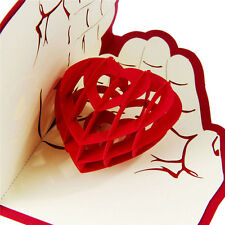 Carte de voeux 3D Pop Up Love In Hands Anniversaire Bonne chance Valentine Noël