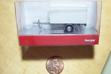 HO Herpa 1:87 scale Single Axle Covered Utility TRAILER ( White )  : Model