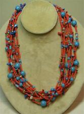 """JOAN RIVERS GOLD PLATED RED SEED BEAD & TURQUOISE TORSADE 36"""" NECKLACE NEW"""