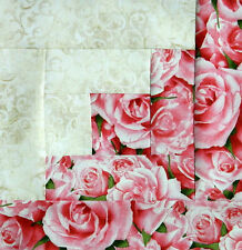 {12} Log Cabin Quilt Top Block { KIT } ~ Bed of Roses ~ Pre-Cut ~ Ready to Sew