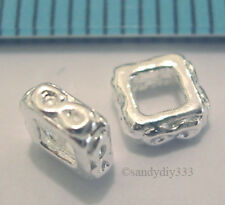 4x STERLING SILVER BRIGHT CUBE SPACER BEAD (#469A)