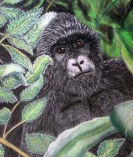 12X12 framed pastel painting of a gorilla
