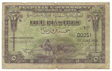 Egypt Egyptian Banknote 5 Piastres 1918 P162 Camels Used in Palestine LOW SERIAL