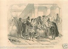 Comerciant Merchant Blind Songs Lottery Tickets Spain Espana GRAVURE  PRINT 1858