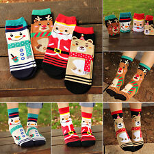 4 Pairs Women Winter Warm Soft Cotton Socks Santa Claus Deer Christmas Xmas Gift