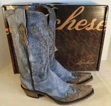 LUCCHESE N6557.S54 WOMEN'S STONEWASH BLUE BELLFLOWER WESTERN BOOTS SIZE 9.5 NEW
