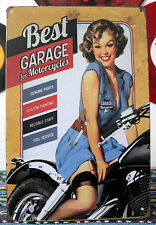 Best Garage for Motorcycles Pin up girl Tin Sign Metal Art Wall Decor Display