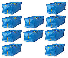 IKEA 10 X LARGE BLUE Zippered BAG Shopping Laundry Storage Travel Tote FRAKTA