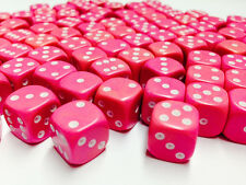 Hobby Marine Space Chaos MTG Wargames BNIB 12mm Opaque Pink Dice D6 x 50