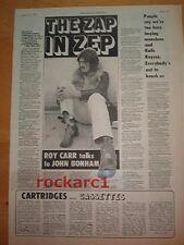 LED ZEPPELIN  Bonzo  the ZAP IN ZEP 1972 UK  ARTICLE / clipping