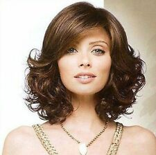 CHSW49  natural brown short wavy health natural hair wigs for women wig