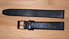 15mm Men's Flat Watch  Band/Strap Black Genuine Leather Silver Buckle Short