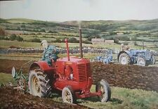 Tractor greeting card -Massey Harris pacemaker 1936-1939 and Case tractors