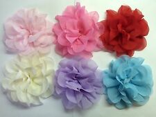 """Wholesale 6 Pcs 4"""" Chiffon Flowers No Clips Baby Girl Hair Bow Supplies."""