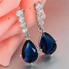 Azul Marino & Clear Cubic Zirconia 18K oro blanco plateado pendientes Stud cuelgan UK