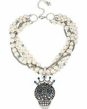 Betsey Johnson Faux Pearl Torsade Necklace Removable Skull Pendant NWT $95