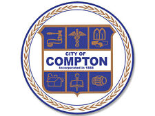 4x4 inch Round COMPTON City Seal Sticker -decal logo california bumper window