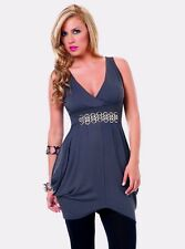 4702 Sexy Gray silver Cocktail Ultra Mini DRESS Top V Neck Club wear Party S M L