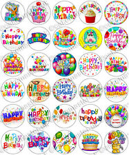 30 x Happy Birthday Party Edible Rice Wafer Paper Cupcake Toppers