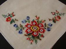 VINTAGE HANDKERCHIEF HAND EMBROIDERED PETIT POINT ROSES UNUSED HAND ROLLED