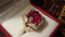 Woman's Fine Ring Big Blood Red Total 6.2Ct Ruby & Diamonds For Anniversary,14KT