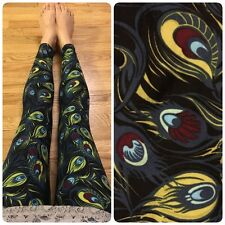 NEW!! LulaRoe Neon Black Wispy Peacock Feather One Size OS Legging-Cute UNICORN!