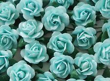 100! Lovely Handmade Mulberry Paper Roses - 15MM - Pale Blue Rose Embellishments