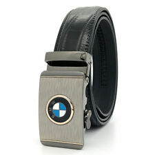 Fashion Leather Belt For Man Black Business Strap Alloy Automatic Buckle BMW
