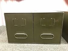 Vintage Steel Industrial Metal File Cabinet Box with Double Drawer