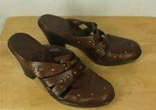 Born Clogs Mules Size 11 Brass Studs Brown Leather
