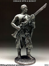 Cossack with a musket, Tin toy soldier 54 mm, figurine, metal sculpture