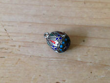 Antique Early 20thC Russian Silver Cloisonne Enamel Egg Pendant Charm