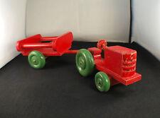 tracteur en bois avec remorque ancien années 60/70 longueur 32 cm