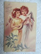 ANTIQUE CHRISTMAS POSTCARD C 1909 ANGELS PLAYING MANDOLIN EMBOSSED GERMANY