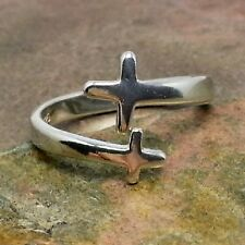 Sideways Cross Adjustable Ring - 925 Sterling Silver - Religious Christian NEW