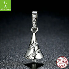 European 925 Sterling Silver Dangle Charm For Christmas Tree Pave CZ Jewelry