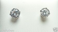 14kt Pure WHITE Gold 5MM Cubic Zirconia Stud Earrings w/4M - 14KT Gold Backs....