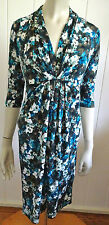 Leona Edmiston designer elegant print 3/4 sleeve stretch dress size 6 (US 2)