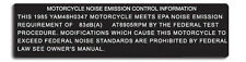 YAMAHA 1985 RZ350 MOTORCYCLE NOISE EMMISSION CONTROL WARNING DECALS