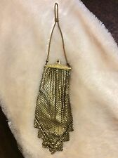 "Vintage 1920's-1930's Whiting And Davis Gold Mesh Evening Bag 8.5"" Long"