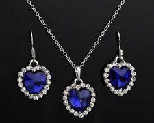 Beautiful Silver & Blue Crystal Heart Jewellery Set - Heart of the Ocean Style