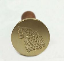 Game Of Throne House Of Stark Dire Wolf Brass Wax Seal Stamp Wooden Handle