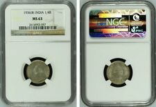 British India King George V 1936 (C) 1/4 Quarter Rupee NGC Graded MS-63 Silver