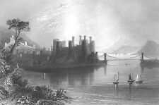 Wales CONWY CASTLE MEDEIVAL FORTRESS SAILBOATS BRIDGE ~ 1840 Art Print Engraving