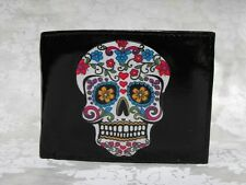Sugar Skull Decorated Leather Wallet - Day of the Dead - M152