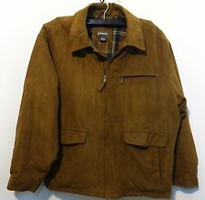 ST JOHNS BAY MENS Leather JACKET SZ XL BROWN suede with flannel lining bomber