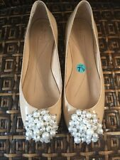 Kate Spade Beige Nude Patent Leather Ballet Flats Shoes With Pearl Cluster 7.5