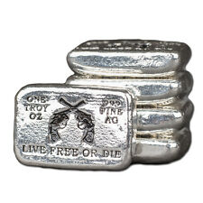 """1 oz Hand Pour Silver Bar STACKERS MINT Series """"LIVE FREE OR DIE"""" 2000 only!"""
